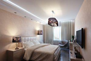 натяжные потолки в квартире в спальне